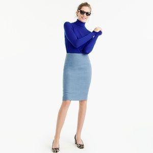 J. Crew light blue cotton pencil skirt